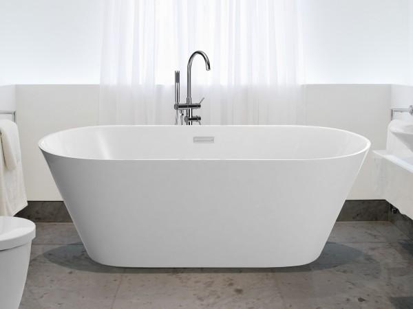Freistehende Badewanne Hawaii ovale Acryl Wanne optional mit freistehender Armatur für Bad innen
