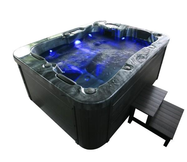 Outdoor Whirlpool Hot Tub Spa Malta 210x160 cm schwarz mit 27 Massage Düsen + Heizung + Ozon Desinfektion für 3 Personen