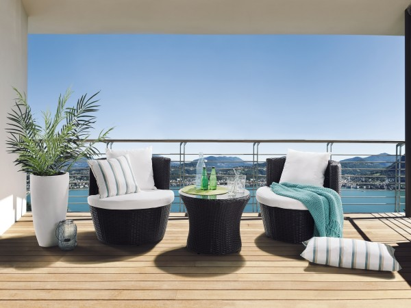 "Rattan Gartenmöbel Set ""Cari"" Sessel inkl. Tisch Rattanmöbel für Garten äußerst kompakt dunkelbraun"
