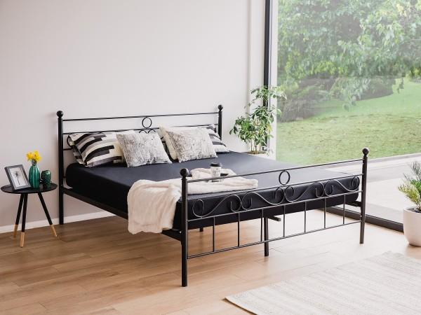 Designer Metall Bett Lyon schwarz 160 / 180 x 200 cm mit Lattenrost Lattenrahmen Metallbett