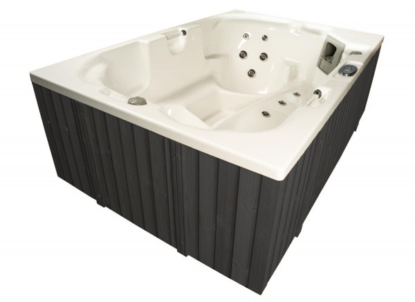 Outdoor Whirlpool Hot Tub Spa Monaco MADE IN GERMANY 210x140 cm weiss + anthrazit mit 24 Massage Düsen Heizung Ozon für 3 Personen