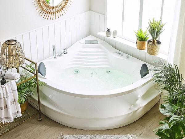 Whirlpool Badewanne St. Tropez 145x145 cm mit 14 Massage Düsen + Heizung + Ozon + Wasserfall + LED