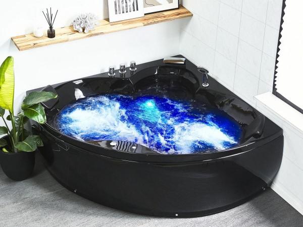 Whirlpool Eck Badewanne Monaco schwarz 145x145 cm Eckwanne mit 12 Massage Düsen LED Beleuchtung Wasserfall Spa für Bad innen