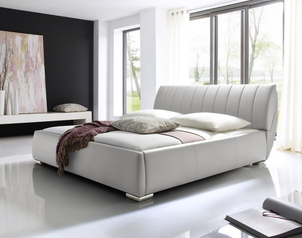 Designer Leather Bed Quot Lara Quot White With Slatted Frame Bed