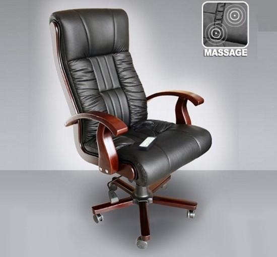 "Leder Chefsessel Massagesessel ""Royal"" Bürostuhl schwarz Ledersessel mit Massage günstig"
