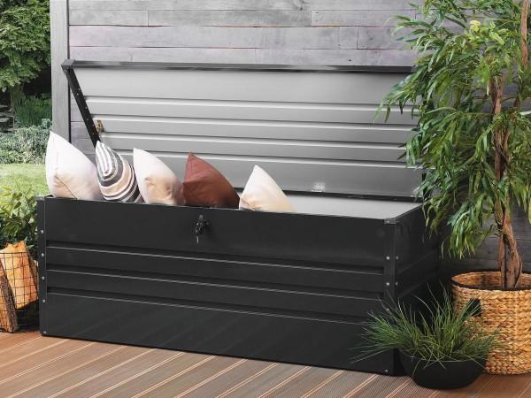 Outdoor XXL Stahlbox 165 cm Stahl Box 600 Liter Werkzeugkiste weiß grau anthrazit grün Aufbewahrungstruhe für Kissen Polster Auflagen Werkzeug