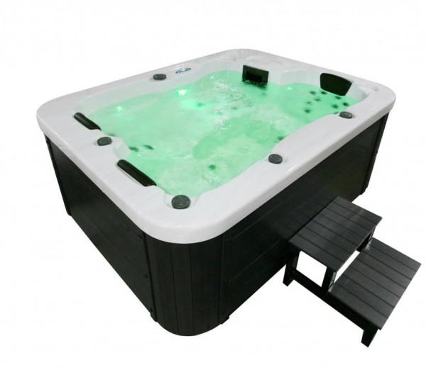 Outdoor Whirlpool Hot Tub Spa Malta 210x160 cm weiss mit 27 Massage Düsen + Heizung + Ozon Desinfektion für 3 Personen