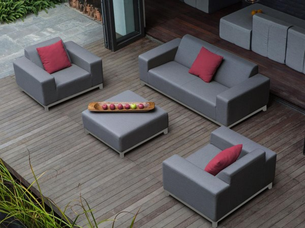 """Lounge Gartenmöbel Set """"Rhodos"""" XXL Sitzgruppe Gartenlounge Sofa für Garten Terrasse Balkon Loungemöbel GRAU + WEISS"""