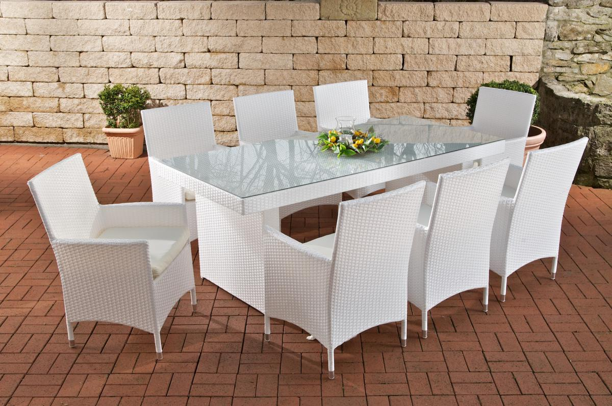 Rattan Garden Furniture Set Rattan Table 200 Cm And 8 Chairs For Garden Or Terrace White Supply24