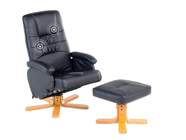 "Massagesessel ""Basel"" TV Leder Sessel schwarz mit Hocker! Schöner günstiger Fernsehsessel"