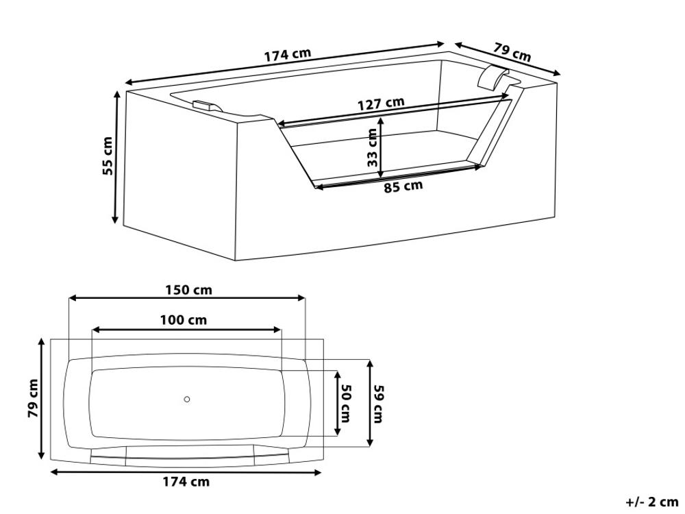 Whirlpool baignoire individuel avec verre clairage led for Douche fibre de verre