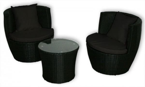 """Rattan Gartenmöbel Set """"Cari"""" Sessel inkl. Tisch Rattanmöbel für Garten Terrasse Balkon Sitzgarnitur schwarz + schwarz Rattanset"""