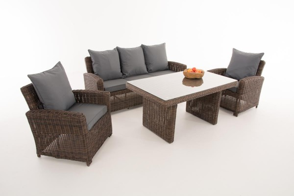 Rattan Gartenmöbel Set Faro braun meliert erweiterbar Sitzgarnitur Tisch mit Bank und 2x Stuhl Lounge für Terrasse Garten Balkon