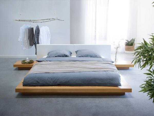 Designer Bett Japan Stil 180x200 cm Holz Bett Buche / hellbraun mit Lattenrost massives japanisches Futonbett