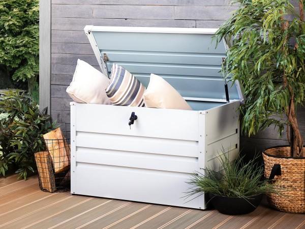 Outdoor Stahlbox 100 cm Kissentruhe 300 Liter Auflagenbox weiß grau anthrazit grün Box Aufbewahrungsbox für Kissen Polster Auflagen Werkzeug