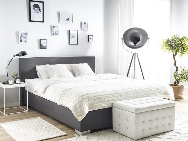 "Boxspring Bett ""Miami"" aus Stoff Boxspringbett schwarz / beige / grau Mit Matratze + Visco Matratzenauflage 160 / 180 x 200 cm"