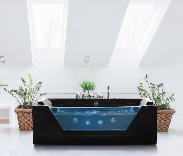 whirlpool badewanne samurai schwarz 10 massage d sen glas. Black Bedroom Furniture Sets. Home Design Ideas