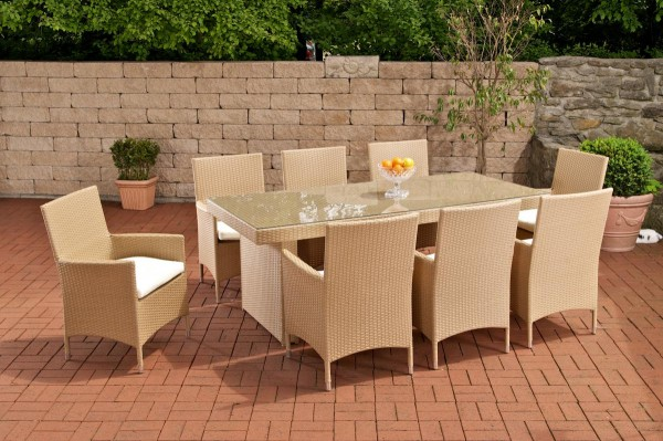 """Rattan Gartenmöbel Set """"Atlanta"""" beige / sand Sitzgarnitur Tisch mit 8 x Stuhl + Gartentisch 200 cm für Terrasse Garten Balkon"""