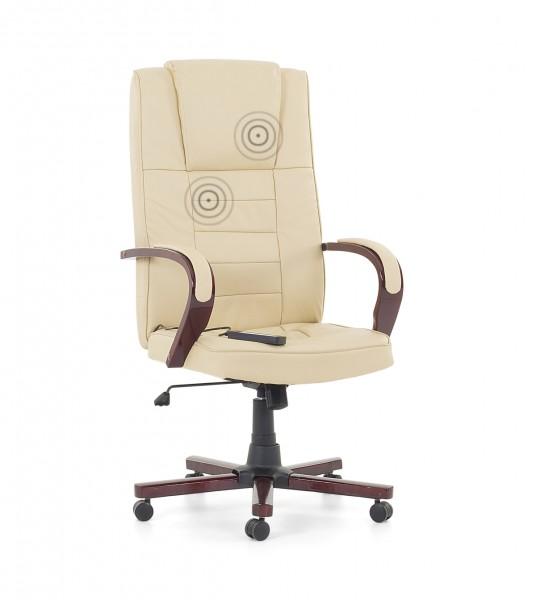 """Leder Chefsessel Massagesessel """"San Diego"""" mit Holz beige creme weiß mit Massage + Heizung Bürosessel"""