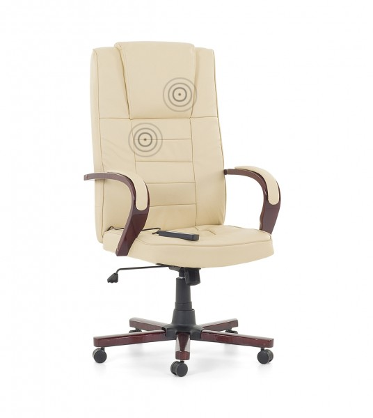 Chefsessel holz  Leder Chefsessel Massagesessel Bürosessel weiss beige mit Massage ...