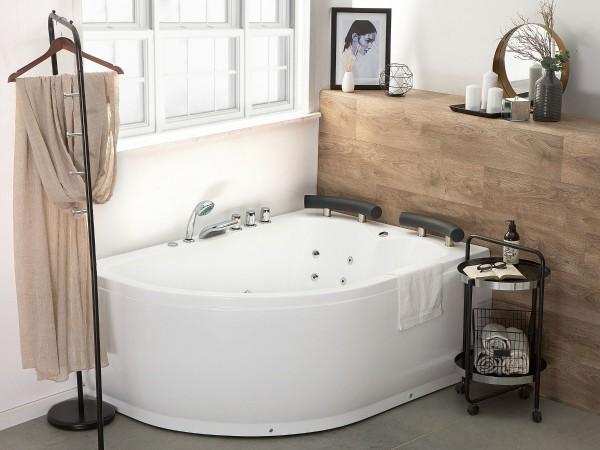 Whirlpool Doppel Badewanne Palermo RECHTS weiss 159x113 cm für 2 Personen mit 15 Massage Düsen + LED große Luxus Eckwanne