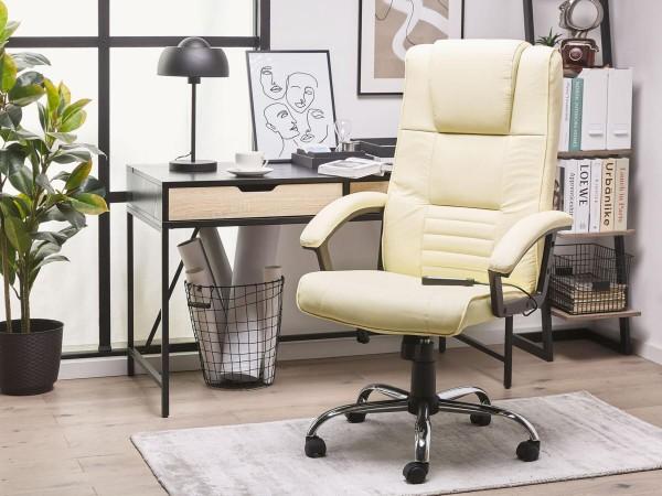 """Designer Leder Massagesessel """"Comfort"""" cremeweiss beige Chefsessel mit Massage + Sitzheizung + hohe Rückenlehne"""