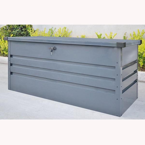 Outdoor XXL Stahlbox Aufbewahrungsbox 400 / 600 Liter Kissenbox Werkzeugkiste grau Box Truhe für Kissen Polster Auflagen Werkzeug