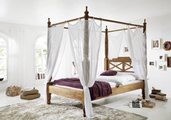 Massivholz Himmelbett aus Sheesham Palisander Holz Braun mit Bezugstoff weiss Traumbett günstig