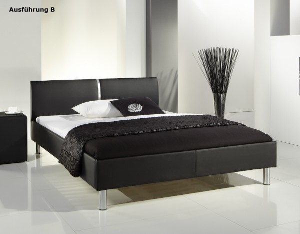 "Lederbett ""Style"" 140x200 cm Jugendbett schwarz 2 verschiedene Kopfteile wählbar"