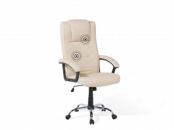"""Designer Leder Massagesessel """"Comfort"""" cremeweiss Chefsessel mit Massage + Sitzheizung + hohe Rückenlehne"""