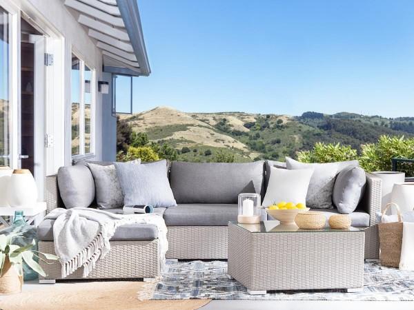"""Rattan Gartenmöbel Set """"Sun"""" Sitzgruppe Rattanlounge für Garten Terrasse Balkon Couch Rattanmöbel grau"""