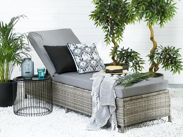 Rattan Gartenliege Toronto grau meliert inkl. Polsterauflage Sonnenliege für Garten Terrasse Balkon Liege Liegestuhl Gartenmöbel