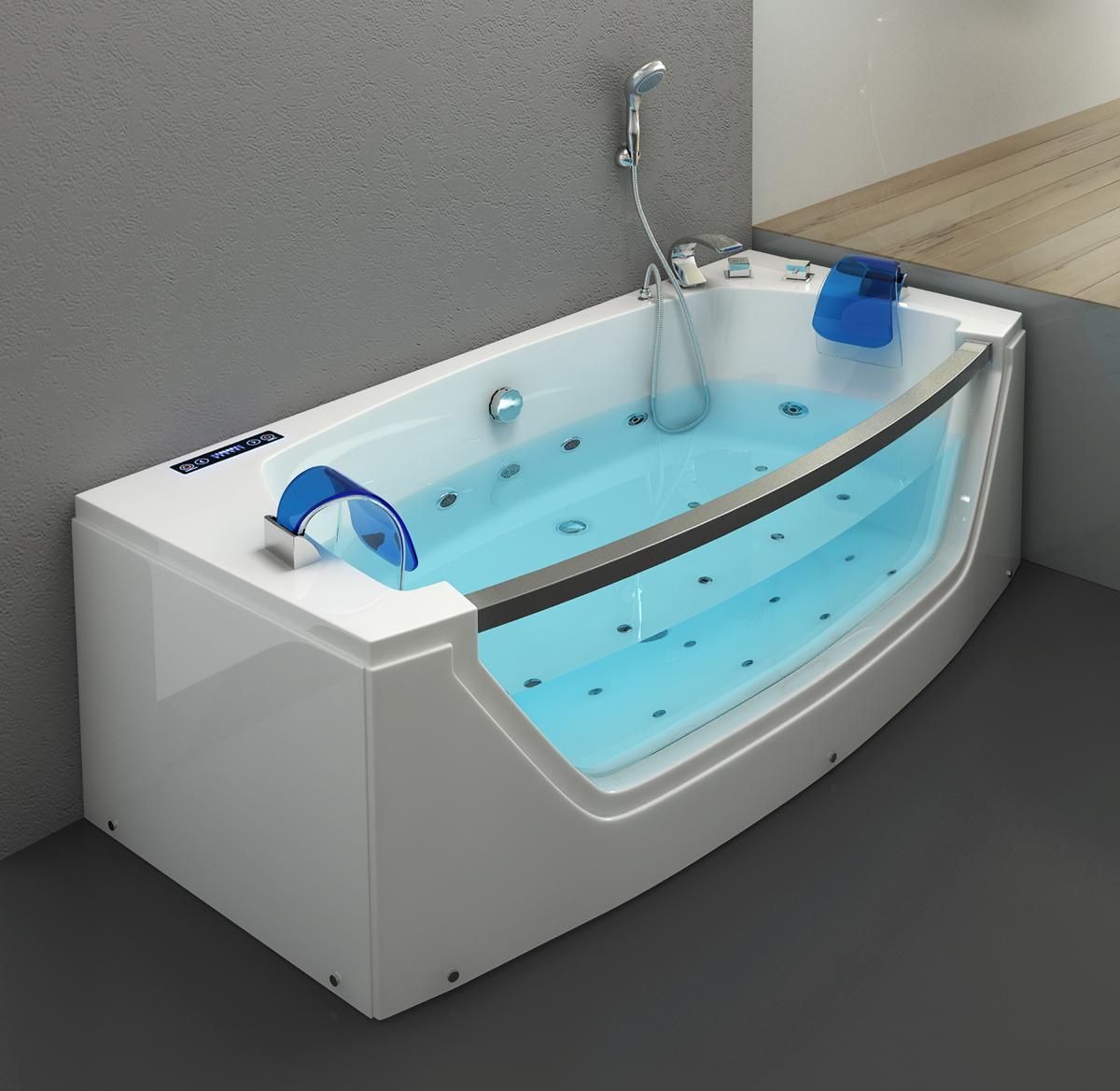 Whirlpool Badewanne Alicante 20x20 cm mit 20 Massage Düsen mit Heizung +  Glas + Ozon + LED Luxus Spa für Bad günstig