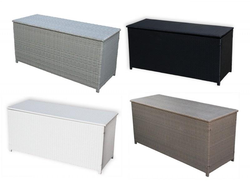 Rattan Box Kissenbox 130 Cm Rattanbox Schwarz Weiss Grau Dunkelbraun Auflagentruhe Für Kissen Polster Auflagen