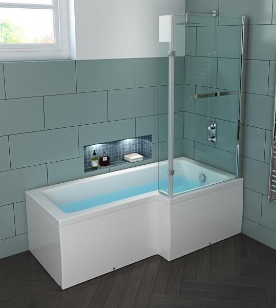 Badewanne Edinburgh mit Glas Duschkabine RECHTS 170x85 cm Wanne mit Duschabtrennung für Bad innen
