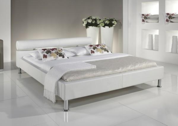 """Lederbett / Polsterbett """"Amy"""" modernes Leder Bett weiss, schwarz oder braun Kopfteil rund günstig"""