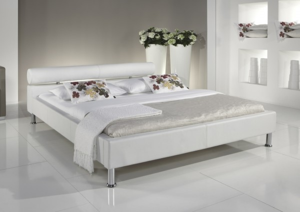 "Lederbett / Polsterbett ""Amy"" modernes Leder Bett weiss oder schwarz Kopfteil rund günstig"