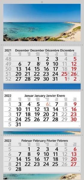 3 Monatskalender 2022 Kalender Elafonisi Strand Motiv Fotokalender Traumstrand ohne Werbung Wandkalender Mehrblockkalender Motivkalender