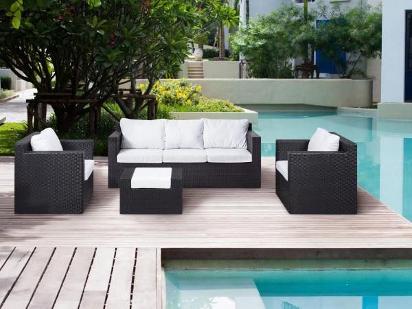 """Rattan Gartenmöbel Set """"Rio"""" Sitzgruppe Rattanlounge für Garten Terrasse Balkon Couch Rattanmöbel dunkelbraun"""
