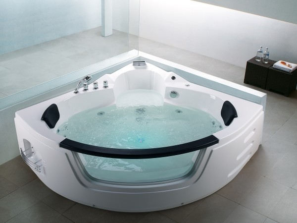 Whirlpool Badewanne Mallorca 12 Massage Düsen Glas LED Massage ...