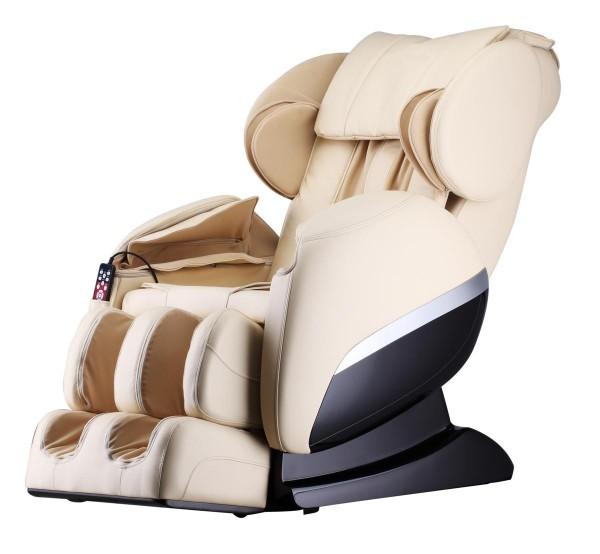 Massagesessel Shiatsu F3000 Zero Gravity creme weiss / beige mit Rollentechnik + Heizung + Armmassage + Fußmassage + Beinmassage