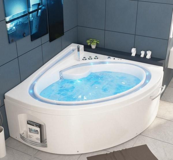 Whirlpool Badewanne Havanna Profi 165x148 cm mit 19 Massage Düsen mit Heizung + Ozon + LED Bachlauf + Radio Luxus Spa für Bad günstig