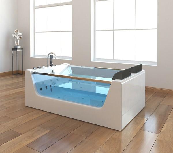 Freistehende Whirlpool Badewanne Avignon mit 22 Massage Düsen mit Heizung + Glas + Ozon + LED XXL Luxus Spa für Bad