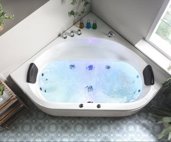 Whirlpool Badewanne Malta mit 12 Massage Düsen + LED Beleuchtung Luxus Eckwanne für Bad günstig