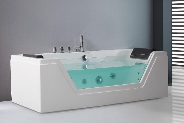 Whirlpool Badewanne Samurai WEISS in 3 Größen mit 10 Massage Düsen + Glas + LED Beleuchtung Luxus Spa für Bad günstig