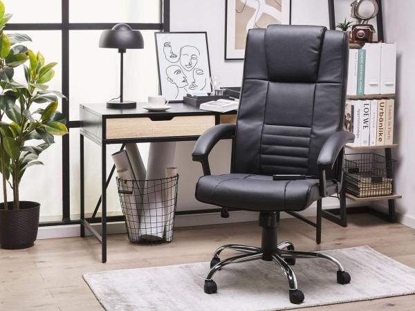 """Designer Leder Massagesessel """"Comfort"""" schwarz Chefsessel mit Massage + hohe Rückenlehne"""