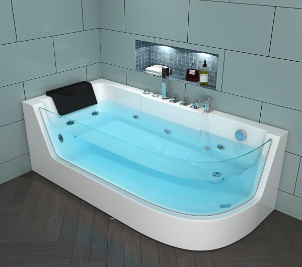 Whirlpool Badewanne Costa Rica 170x80 Cm Mit 4 Massage Dusen Mit Glas Armaturen Luxus Spa Fur Bad
