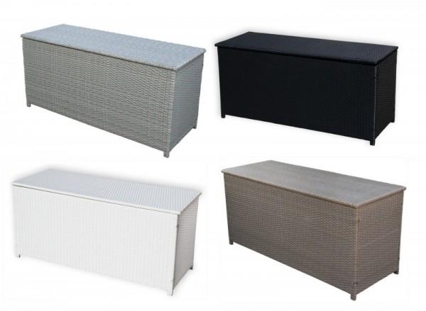 Rattan Box Kissenbox 130 cm Rattanbox schwarz / weiss / grau / dunkelbraun Auflagentruhe für Kissen, Polster + Auflagen