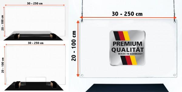 Acrylglas Schutzwand gegen Viren Spucke Thekenaufsatz Virenschutz Hustenschutz Niesschutz Spritzschutz im Wunschmaß Schutz für Kasse Theke