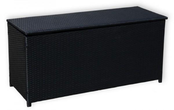 Rattan Box Kissenbox 130 cm Rattanbox schwarz / weiss / grau / dunkelbraun Aufbewahrungsbox Auflagentruhe für Kissen, Polster + Auflagen